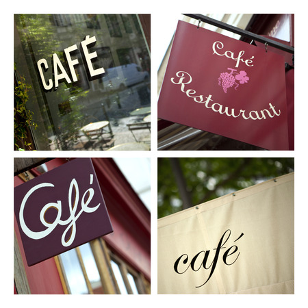 french cafe: Collage of French cafe and bistro