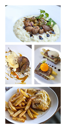 gastronomic: Collage of gastronomic dishes Stock Photo
