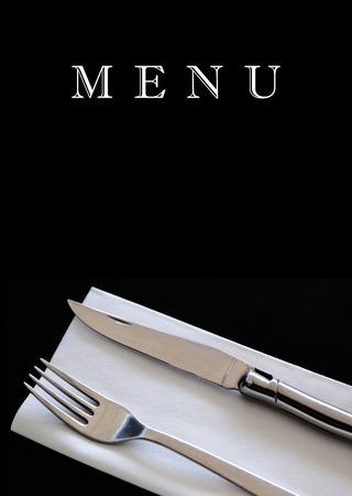 Cutlery on a restaurant menu