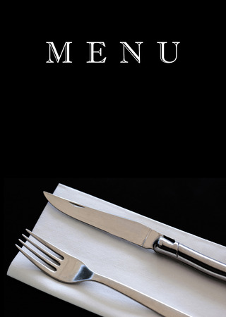 Cutlery on a restaurant menu