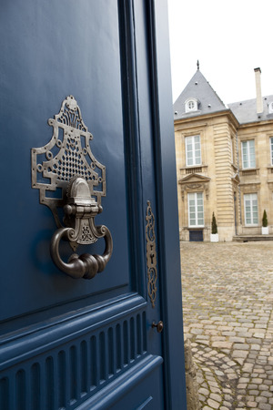 Stylish door knocker of a French mansion