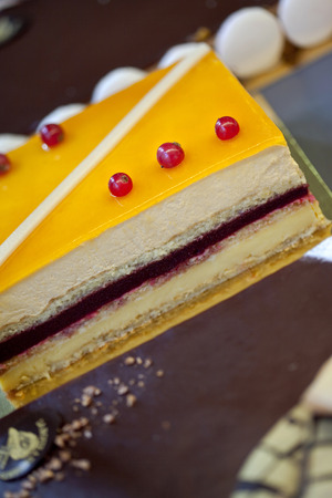 Detail of a French pastry in a bakery photo