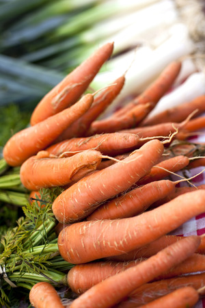 Bunch of carrots on a market stall photo