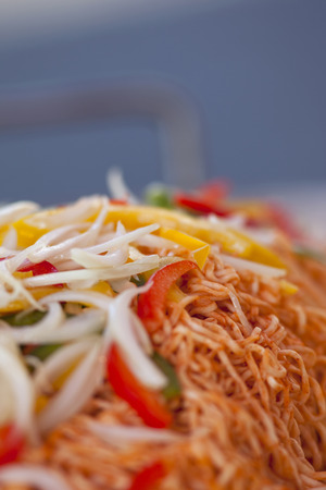 asian noodles: Asian noodles, peppers and onions