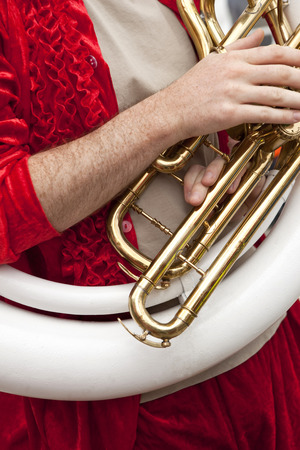 tuba: Playing tuba in a marching band