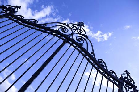 Wrought iron gate of a residence Standard-Bild