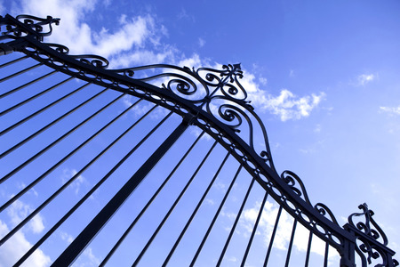 Wrought iron gate of a residence Stok Fotoğraf