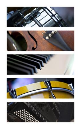 instruments de musique: Divers instruments de musique sur un collage