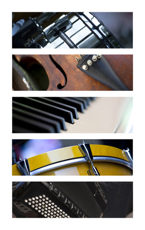 musical band: Various musical instruments on a collage