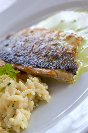 gastronomic: Cod fillet and rice on a plate