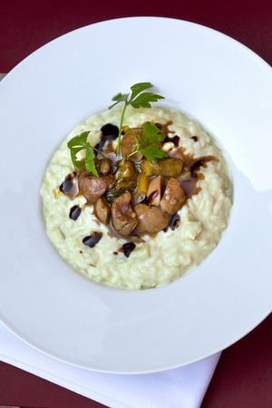 Veal kidneys, eggplant and risotto on a plate Foto de archivo