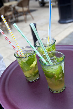rhum: Three mojitos in a pub Stock Photo