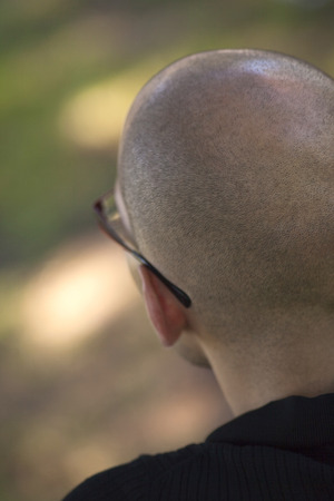 shaved: Shaved skull of a man