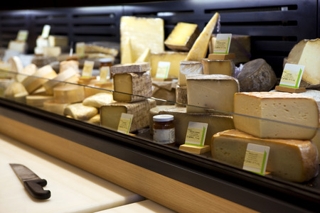 Various cheeses in a French creamery