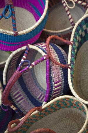 artisanal: Wicker baskets on a market stall