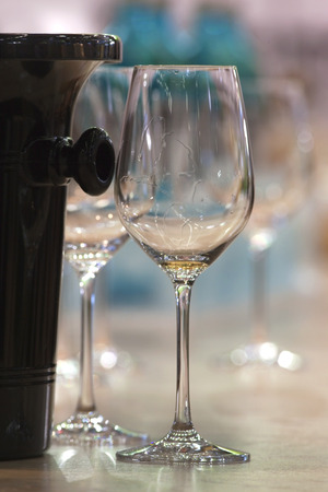 oenology: Empty glasses after a wine tasting