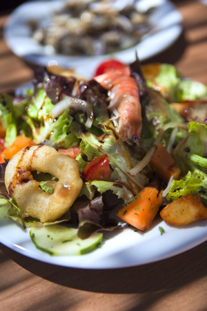 sea food: Mixed salad with sea food and vegetable Stock Photo
