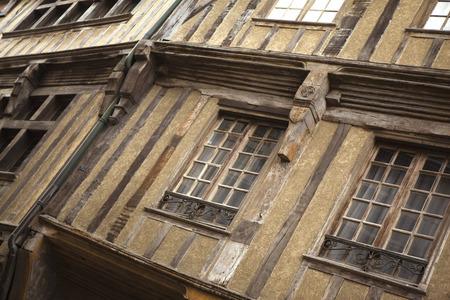 half  timbered: Half timbered houses in Dinan, Britanny, France