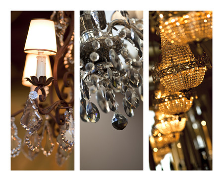 luster: Glass chandeliers on a collage Stock Photo
