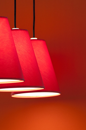 lampshades: Lampshades of red canvas in a living room