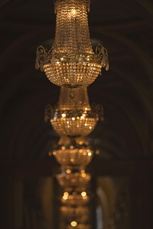 crystal chandelier: Crystal chandelier and pendants in an hall
