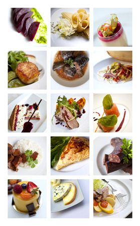 gastronomic: Collage of various gastronomic dishes and desserts Stock Photo