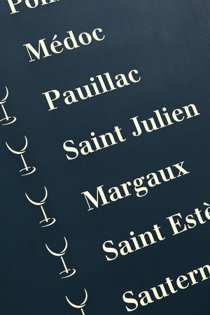 oenology: French wine designations on a wooden panel