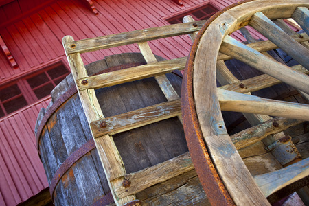 wheel barrel: Close up of a wooden cart in a French winery