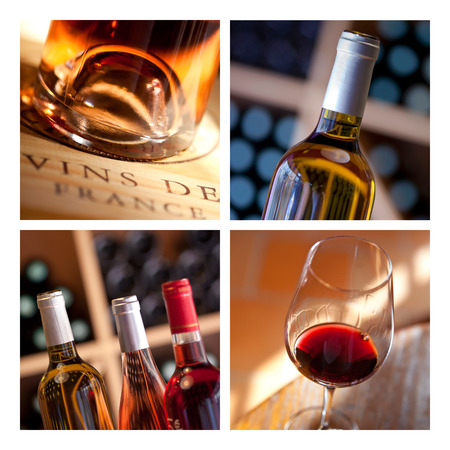 Collage of wine for tasting in wineries