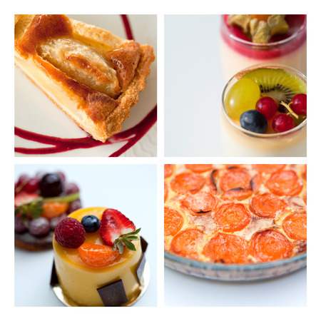 french bakery: Collage of various cakes and desserts in a French bakery Stock Photo