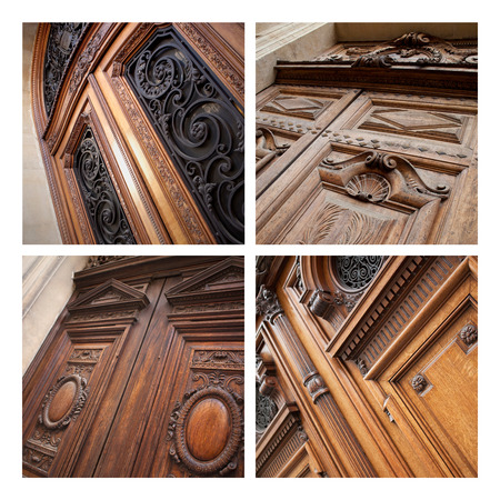 french doors: Collage of stylish wooden doors of various French monuments