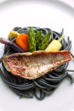 mullet: Red mullet fillet, vegetable and ink pasta