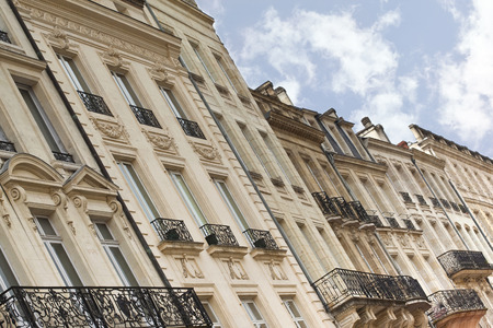 Facades of old houses on Bordeaux docks