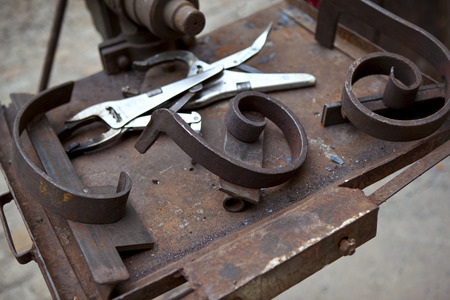 ironworks: Tools and metals in an ironworks shop