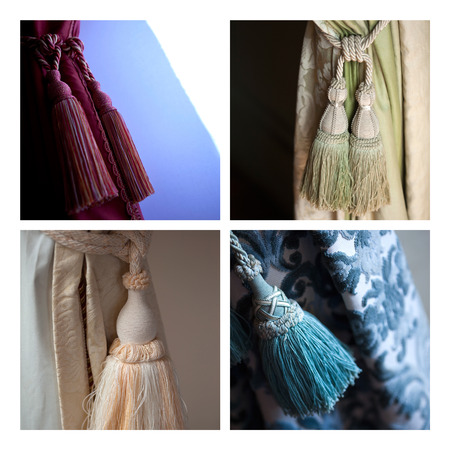 trimmings: Various curtains and trimmings on a collage Stock Photo