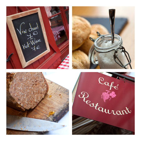 ambiance: Close up of French bistro ambiance on a collage Stock Photo