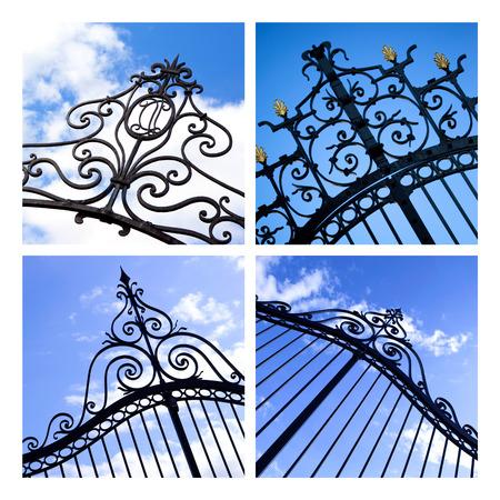 puertas de hierro: Collage de puertas de hierro forjado en los parques