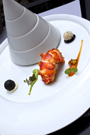 lobster tail: Lobster tail and spicy sauces in a stylish plate