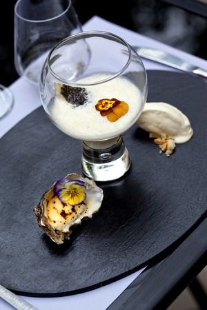 sorbet: Oyster sauce, caviar, grilled oysters and oyster sorbet
