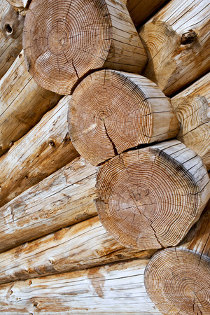 chalet: Close up of logs of a wooden chalet Stock Photo