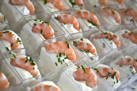 Shrimp and herbs cream in small glasses Stock Photo