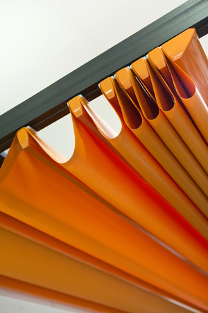 Canvas sunblind on an aluminum pergola Standard-Bild