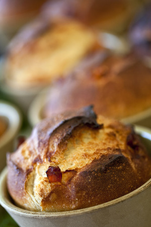 french bakery: Close up of bacon and bread in a French bakery Stock Photo