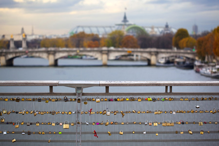 padlocks: Padlocks on Solferino bridge in Paris