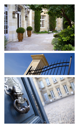 prestigious: Prestigious French houses and mansions on a collage Stock Photo