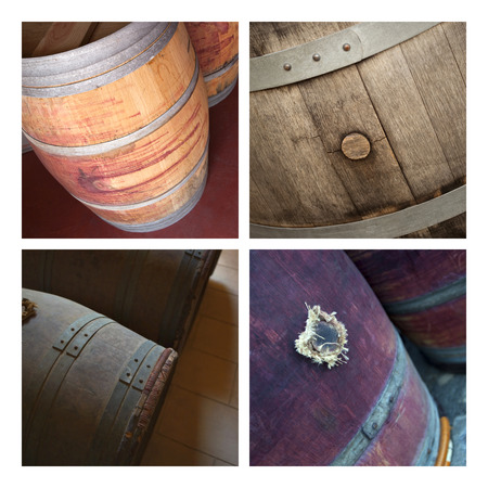 oenology: Old oak barrels and cellars on a collage