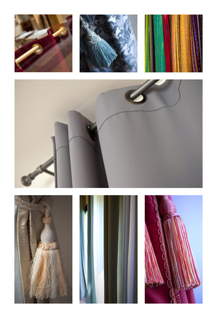 Collage of curtains and trimmings in various interiors