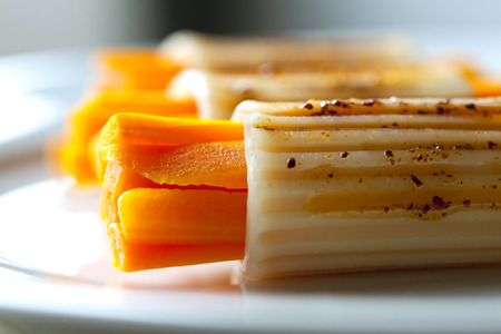 balsamic: Pasta, carrots and balsamic vinegar on a plate Stock Photo