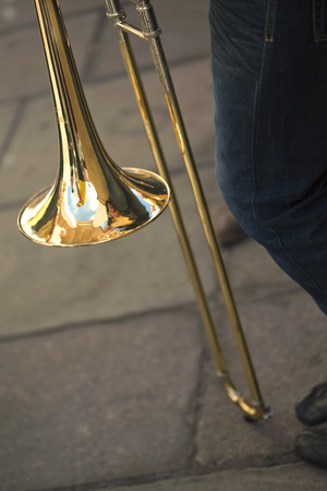 marching band: Trombonist and trombone in a marching band