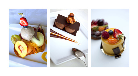 gastronomic: Collage of various French desserts on plate Stock Photo